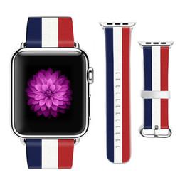Drapeau national de concepteur national Style bande de cuir pour Apple Watch bande 38mm 42mm en cuir pour Iwatch Strap Cadeaux pour IPhone cas ? partir de fabricateur