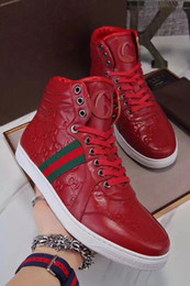 Wholesale Newest Casual Shoes - 2017 winter newest arrival brand men shoes blue red genuine leather high-top fashion casual shoes luxury high quality men sneakers