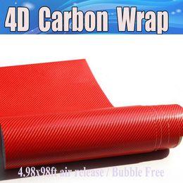 Wholesale Carbon Fiber Skin Stickers - RED 4D Carbon Fiber Vinyl Like realistic Carbon Fibre Film For Car Wrap With Air Bubble Free auto covering skin Size 1.52x30m