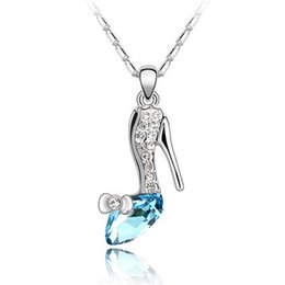 Wholesale Cinderella Glass Slipper Necklace - 2017 New Arrival  High Quality Fashion Lively Plated Crystal Cinderella Glass Slipper Pendant&necklace Jewelry For Women