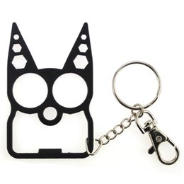 Wholesale Duron Drill - Cute Cat Opener Multi-tool Portable self defense Keychain Defense Duron Drill Finger Ring for Women