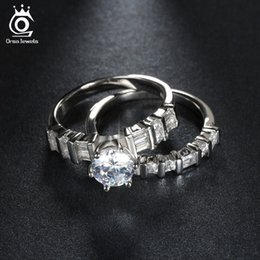 Wholesale Brilliant Diamond Rings - Luxury 1.3ct Brilliant CZ Diamond Engagement Wedding Eternity Ring Set White Gold Plated Silver Promise Gift for Women OR113