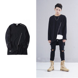 Wholesale Sweater For Man High Neck - New oversized hip hop Streetwear sweatshirt for men women zipper irregular Sweater High Street O-neck Long Sleeve Casual Fashion Men Hoodie