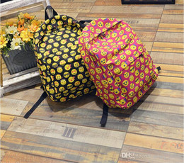 Wholesale Back School Backpacks - EMOJI QQ face smiling expression pattern backpacks Expression School bag High Quality preppy Back style Outdoor woman Men Unisex mochila
