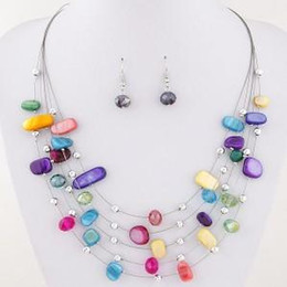Wholesale shell pendant necklace earrings - Beautiful Womens Jewelry Sets Multi Layer Crystal Shell 6 Color Option Statement Pendant Bib Necklace Earring Set