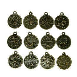 Wholesale Metal Charms Pendants Assorted - Wholesale-10 sets (120pcs) Assorted Antique bronze Zodiac charms twelve constellations Metal sign pendant wholesale
