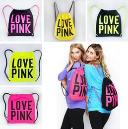 Wholesale Girls Strings - Pink Drawstring Bag Backpacks Women Victoria LOVE PINK School Bags Pink Letter Storage Bags Fashion Canvas VS Handbags Shopping Bags