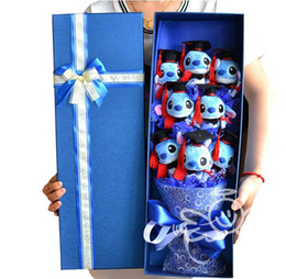 Wholesale Stitch Dolls - Purple Stitch Doll Doctor Cap Holding Bouquet for Valentine's Day Gift With Gift Box, Silk Ribbon Festivals Gift Flowers