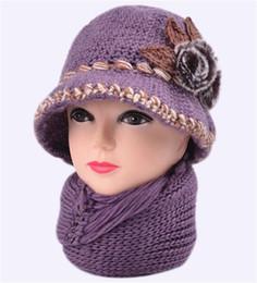 Wholesale Handmade Bucket Hats - Wholesale-Women rabbit fur ball crochet flower handmade Bucket Hat scarf 2pcs winter set