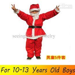 Wholesale Leather Boy Suit - Wholesale-M11-12 Christmas clothes woven boys 11-12 years old Santa Claus dress Santa Claus suit Santa hats Christmas Clothing Fashion