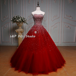 Wholesale Top Sexy Ball - 2017 Sexy ball Gown prom Dresses Sparkling Sequins Beads Pleats Tulle Evening Gowns Shining Sequins Beads Top Dresses Evening Wear