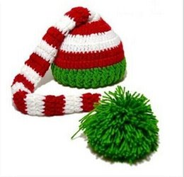 Wholesale Winter Hats Long Tails - 100% wool DIY knitting Christmas hat Long tail ball cap Newborn years photography props Winter girl warm hat E585