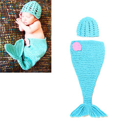 Wholesale Little Girls Mermaid Costumes - The Little Mermaid Design Blue Crochet Hat and Cocoon Set Infant Newborn Baby Girl Photo Photography Props Handmade Knit Costume