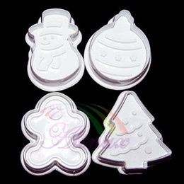 Wholesale Fondant Tree Cutter - Wholesale- Hot sell4x Gingerbread Man Snowman Tree Plunger Fondant Cake Icing Cookies Cutter Mould