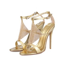 Wholesale Dance Shoes Sandals - Summer New Arrival Open Toe Sandals Women Rhinestone High Heel Shoes Gold and Silver Wedding Shoes Performance Dancing Pumps