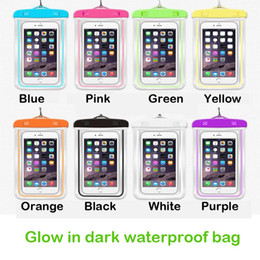 Wholesale Glowing Cover Case - Waterproof phone case Luminous glow in dark lighting Universal Water Proof armband pouch Cover For all iphone 7 8 Cell Phone bag