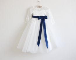 Wholesale Cheap Girls Maxi Dresses - Ivory Lace Flower Girls Dresses Long Sleeves Royal Blue Sash Floor Length maxi Long Girls Birthday Party Long Sleeves Cheap