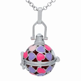 """Wholesale Enamel Box Chain Necklace - Wholesale Silver Enamel Heart Hollow Cage Box Locket Essential Oil Aromatherapy Diffuser Openable Pendant 30"""" Chain Necklace Charms Jewelry"""