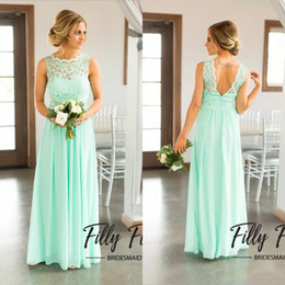 Wholesale Lace Sleeveless Top Skirt - Hot Sale 2017 Mint Green Lace Top Backless Chiffon Skirt Country Beach Bridesmaid Dresses Long Cheap Floor Length Wedding Party Gown EN9201
