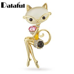 Wholesale Women Sexy Figures - Elegant Sexy Wear Glasses Cat Crystal Brooches fashion Pins Brooch for Women Jewelry Z011