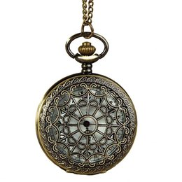 Wholesale Clock Locket Necklaces - Hollow Spider Web Flower Patter Pocket Watches Necklaces Chain Flip Locket Quartz Watch Wall Clocks men women jewelry Christmas gift 230219