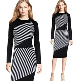 Wholesale Full Midi - S-5XL Women Elegant Full Sleeve Striped Panelled Pencil Dress For Women Fashion Patchwork Slim Plus Size Party Night Out Dresses