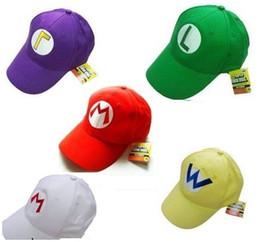 digimon felpa Rebajas Al por mayor-5 colores Super Mario Bros Gorras de béisbol Sombrero Rojo Azul Púrpura Amarillo Blanco Mario Luigi ajustable coton sombreros