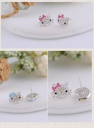 Wholesale Rhinestone Bow Earrings Jewelry - 925 Sterling Silver Bow-knot KT jewelry Crystal Cat Stud Earrings Brincos Cute Rhinestone Hello Kitty Earrings for woman Pendientes