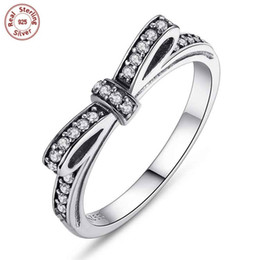 Wholesale Woman Ring Design Gemstone - Authentic 925 Sterling Silver Rings Bow Design Wedding CZ Diamond Ring For Woman Gemstone Ring Luxury Fashion Jewelry Gift P104