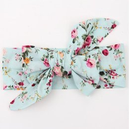 Wholesale Vintage Product Wholesale - Vintage Bule Floral baby headbands Floral baby products pack big bow turban baby girls headband top Knot newborn headband