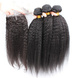 Wholesale Cheap Yaki Hair Weave - cheap indian virgin hair weaves kinky straight 3pcs with 1pc lace top closure mix length italian coarse yaki human hair bundles 4pcs lot