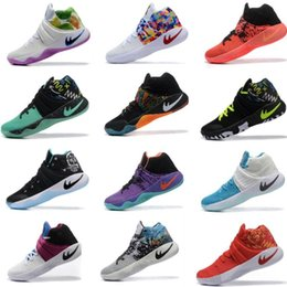 Wholesale Tie Up Balls - New 2017 Kyrie Irving Shoes Mens Basketball Shoes Kyrie 2 II Bright Crimson Tie Dye BHM Basket Ball Olympic Men Shoes Sneakers For Cheap