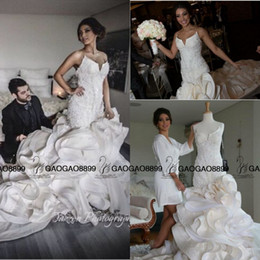 Wholesale Silk Organza Sweetheart Neck Wedding - Real Photo Luxury Detail Beaded Ruffles Mermaid Wedding Dresses 2016 Hot Ivory Sweetheart Backless Church Train Trumpet Arabic Wedding Gown