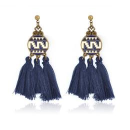 Wholesale vintage blue drop earrings - Fashion Modern Round drop earrings Red Blue Pink tassel earrings for Women Boho Ethnic Vintage Dangles Ear Jewelry for Party