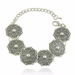 Wholesale Gypsy Chic - Gypsy Bohemian Beachy Chic Carving Charms Bracelet Festival Silver Ethnic Turkish India Tribal Jewelry Lots 12 Pcs