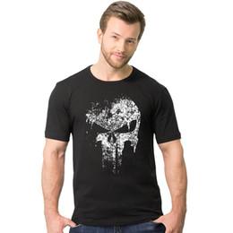 Wholesale Super Hero Shirts - 100% Cotton Men Streetwear Skull Hip Hop T-Shirts Punisher Super Hero Harajuku Men T Shirt Crossfit Tops tshirt TX147 RF