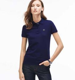 Wholesale Polo Woman - 2017 New Womens Brand Clothing Short Sleeve Shirt Lapel Business women Polo Shirt High Quality Embroidery Cotton Woman Polo Shirt