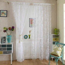 Wholesale Living Room Curtains Sale - Hot Sales Sheer Curtains Peony Flower Window Voile Curtain Romantic Floral Tulle Drape Panel Room Home Sheer Valance JI0133