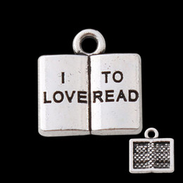 Wholesale vintage book charms - Alloy I Love To Read Stamped Book Shaped Vintage Message Charms For Teacher's Day Wholesale 50pcs lot AAC1025