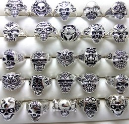 Wholesale stainless steel biker skull rings - Bulk lots 100pcs Men Skull Rings 2017 New Gothic Biker Punk Cool Rings Wholesale Fashion Jewelry Lot