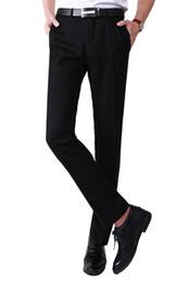 Wholesale European Men Business Suits - Wholesale-Warehouse in European Union within 7 days Delievery Men business suit pants Formal silm fit pants(Black+gray) Male dress pants