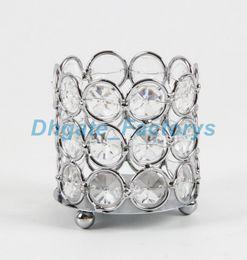 Wholesale Crystal Votive Holders Wholesale - Wedding decoration Crystal beaded bling votive candle holder tealight holder 6,5x6,5x7,5cm HWB-2603, 96pcs lot