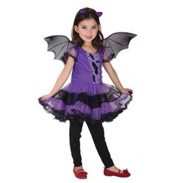 Wholesale Dance Costumes For Kids - bat girl costume Bat Girl Costume Children Cosplay Dance Dress cape cloak Costumes for Kids little witch Children'Day Halloween