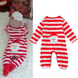 Wholesale Boys Pajamas Size 4t - Baby boys girls christmas outfits infancotton printing romper clothes sets baby sleepsuits infant girl winter pajamas baby winter jumpersuit