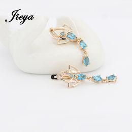 Wholesale Long Stone Drop Earrings - Wholesale-Long Drop Earrings Gold 585 Blue Natural Stone Longues Boucles D'oreilles Indian Jewelry Sapphire Long Drop Earrings Wholesale