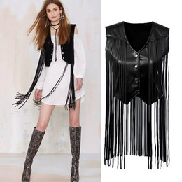 Wholesale Sexy Leather Breasts - Leather Garment Stitching Fringed Vest Jackets Fashion Casual Leisure Black Sexy Jacket Tassel Leather Coat Women's Blouses
