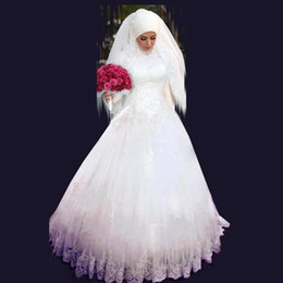 Wholesale Islamic Wedding Dresses Gown - High Neck Long Sleeve Muslim Islamic Wedding Dresses New Arrival Discount Elegant A Line Formal Long Bridal Party Gowns