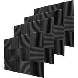 Wholesale black acoustic - 48 Pack - Black Acoustic Foam Sound Absorption Studio Treatment Wall Panels 30 X 30 X 3 cm