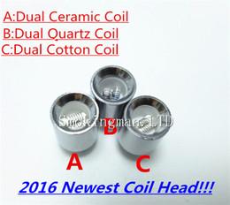 Wholesale E Cigarette Dual Core Atomizer - Dual wax Coil quartz coil replacment Core e cigarette atomizer Dual wax Coil ceramic rod replacment Core for cannon glass globe Vaporizer