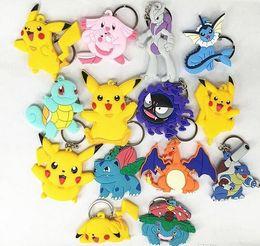 Wholesale Pokemon Sylveon Figure - Poke Figures Keychains Toys 22 Styles Kids Pikachu Sylveon Charmander Bulbasaur Jeni Turtle Keychains Keyring Backpack Pendant Free Shipping